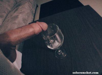 Cumming in a wine glass