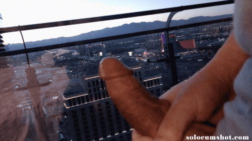 Exhibitionist cum on window