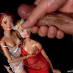Cumming on 2 dolls
