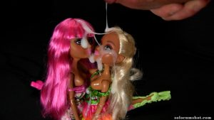 Doll bukkake threesome