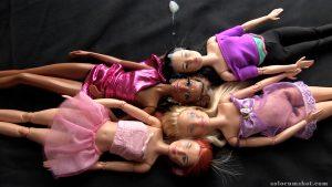 Cum on four barbie dolls