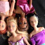 Jizz on multiple barbie dolls