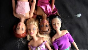 Jizz on multiple barbie dolls