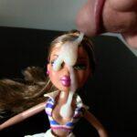 Thick cum on doll facial cumshot